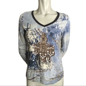 Betty Barclay Long Sleeved Tshirt with Jewels S